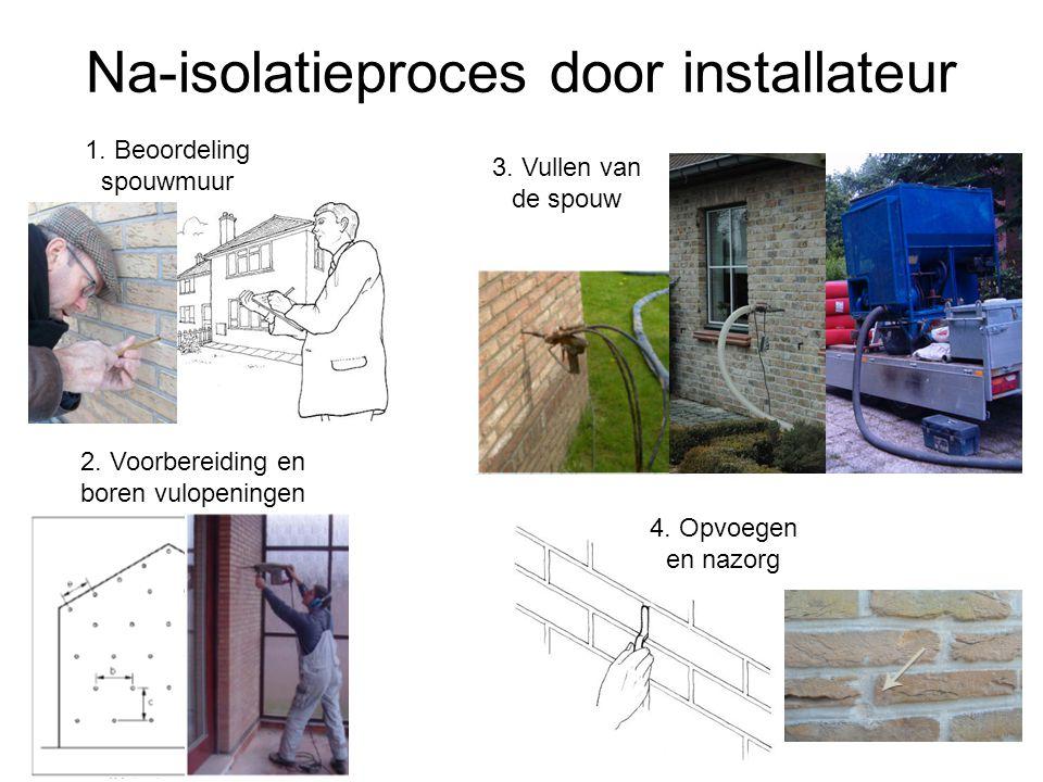 Na-isolatieproces door installateur 1.Beoordeling spouwmuur 2.