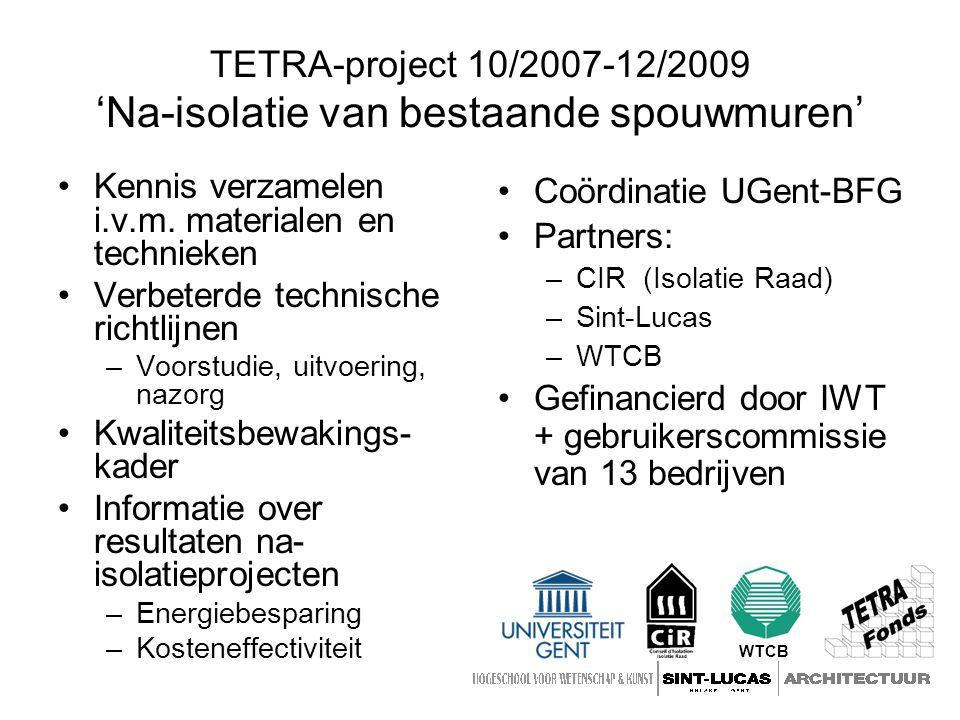 TETRA-project 10/2007-12/2009 'Na-isolatie van bestaande spouwmuren' Kennis verzamelen i.v.m.