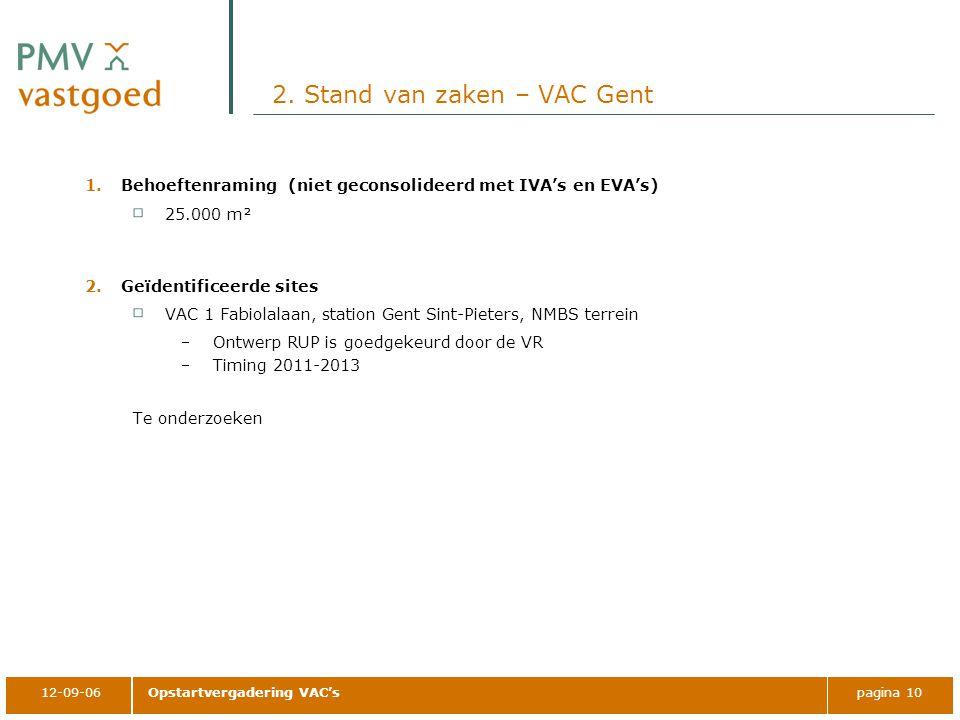 12-09-06Opstartvergadering VAC'spagina 10 2. Stand van zaken – VAC Gent 1.Behoeftenraming (niet geconsolideerd met IVA's en EVA's) 25.000 m² 2.Geïdent