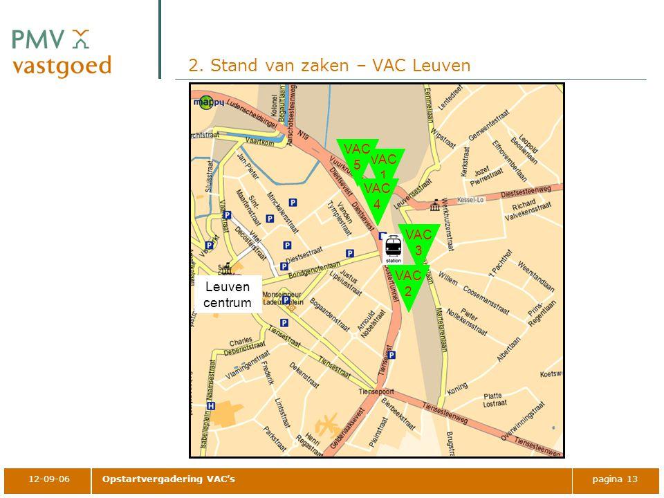 12-09-06Opstartvergadering VAC'spagina 13 2. Stand van zaken – VAC Leuven Leuven centrum VAC 1 VAC 2 VAC 3 VAC 4 VAC 5