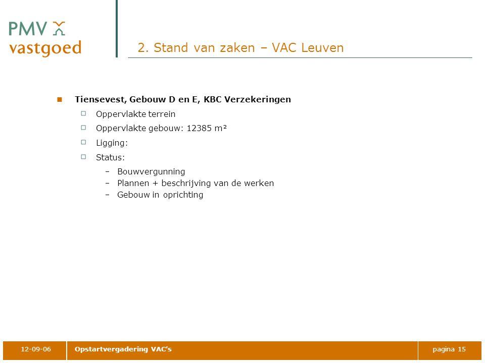 12-09-06Opstartvergadering VAC'spagina 15 2. Stand van zaken – VAC Leuven Tiensevest, Gebouw D en E, KBC Verzekeringen Oppervlakte terrein Oppervlakte