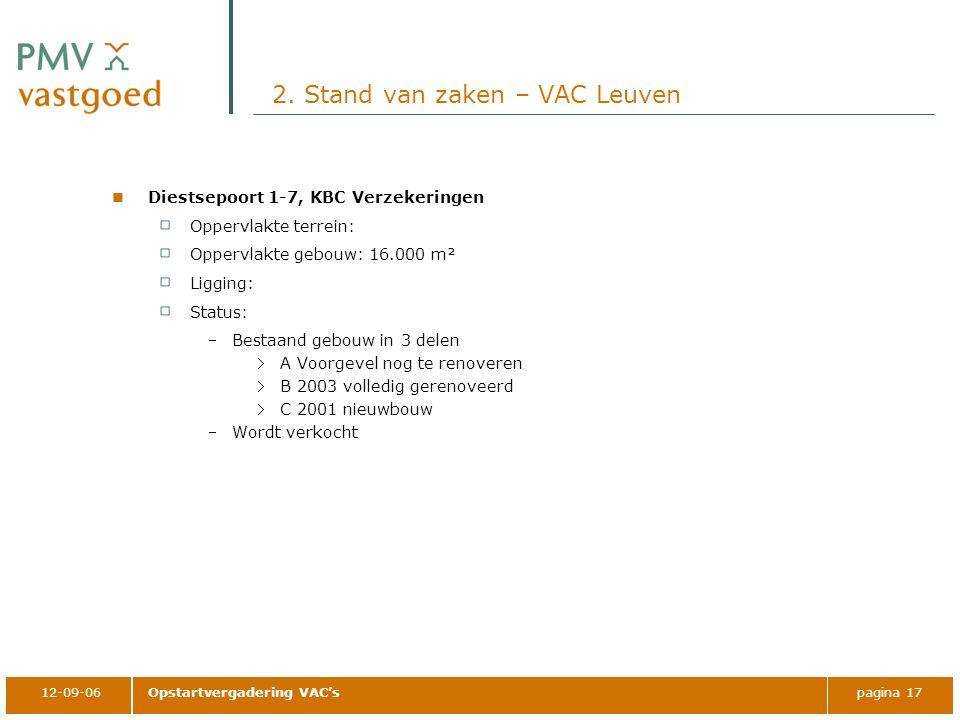12-09-06Opstartvergadering VAC'spagina 17 2. Stand van zaken – VAC Leuven Diestsepoort 1-7, KBC Verzekeringen Oppervlakte terrein: Oppervlakte gebouw: