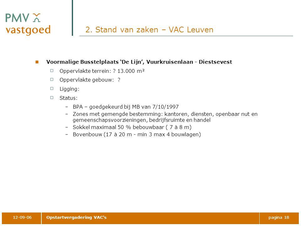 12-09-06Opstartvergadering VAC'spagina 18 2. Stand van zaken – VAC Leuven Voormalige Busstelplaats 'De Lijn', Vuurkruisenlaan - Diestsevest Oppervlakt