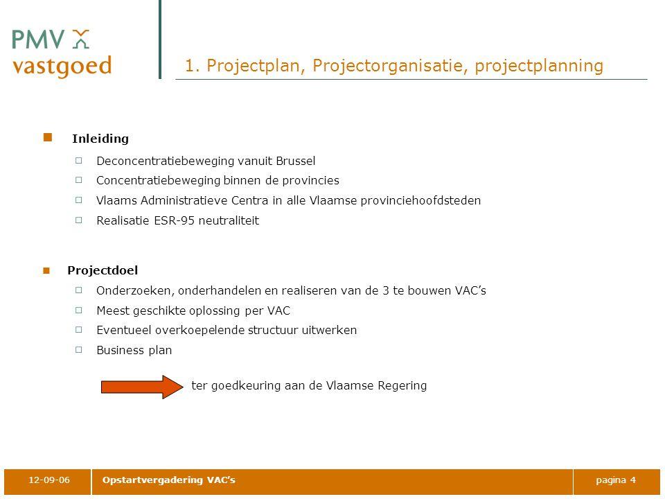 12-09-06Opstartvergadering VAC'spagina 4 1. Projectplan, Projectorganisatie, projectplanning Inleiding Deconcentratiebeweging vanuit Brussel Concentra