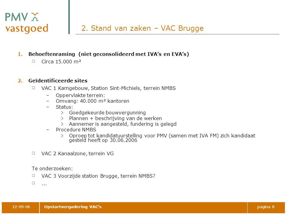 12-09-06Opstartvergadering VAC'spagina 8 2. Stand van zaken – VAC Brugge 1.Behoeftenraming (niet geconsolideerd met IVA's en EVA's) Circa 15.000 m² 2.