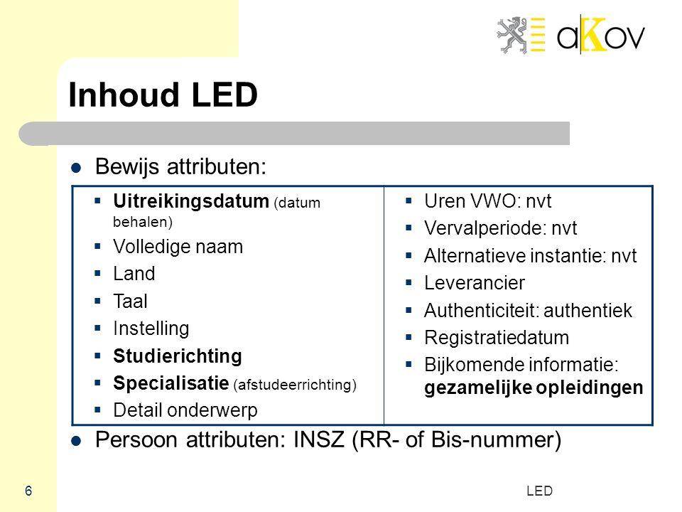 LED 6 Inhoud LED Bewijs attributen: Persoon attributen: INSZ (RR- of Bis-nummer)  Uitreikingsdatum (datum behalen)  Volledige naam  Land  Taal  I