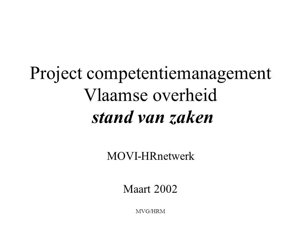MVG/HRM Project competentiemanagement Vlaamse overheid stand van zaken MOVI-HRnetwerk Maart 2002
