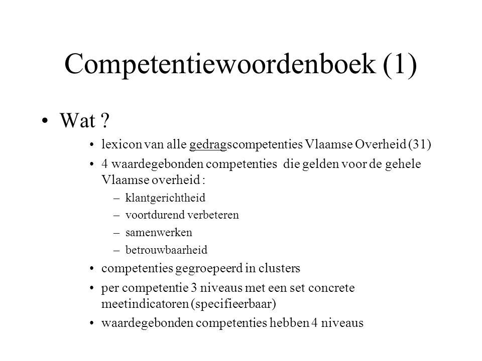 Competentiewoordenboek (2) Werkwijze input informatiebronnen –bestaande competentiemodellen van MVG, VDAB, VRT, K&G, OVAM, LIN-AROHM, –competentiemodel Algemene Bestuursdienst Nederland –expertise Quintessence Consulting –lopende projecten competentiemanagement (parallel) pre-testen (VDAB, K&G, MVG) discussies in projectgroep
