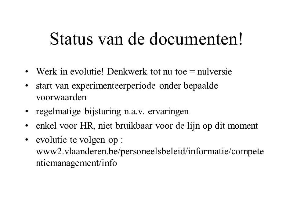Status van de documenten! Werk in evolutie! Denkwerk tot nu toe = nulversie start van experimenteerperiode onder bepaalde voorwaarden regelmatige bijs