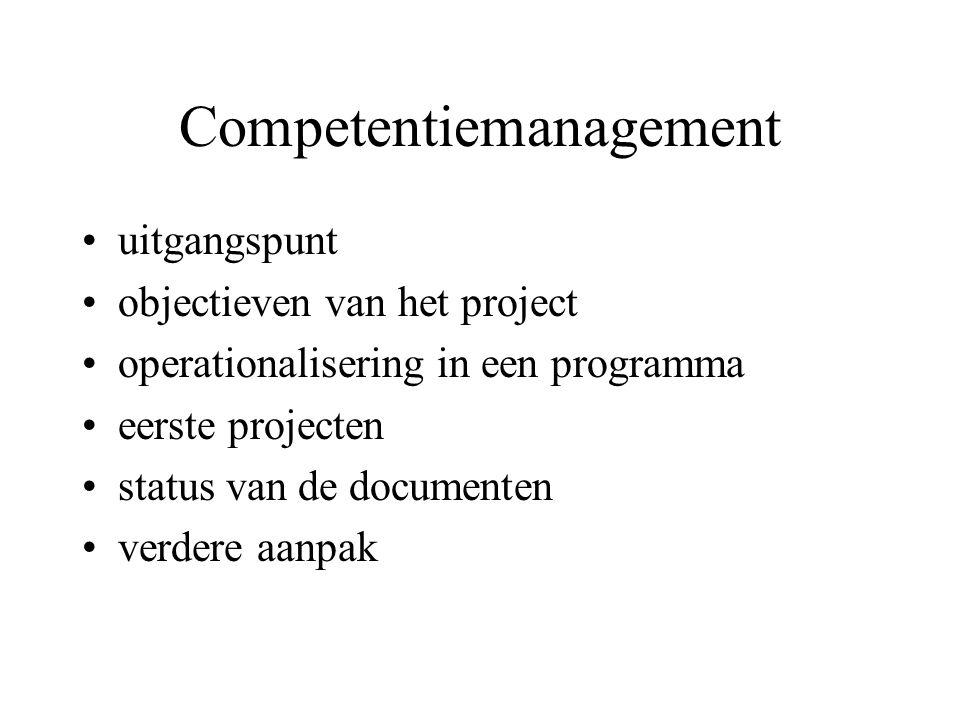 Uitgangspunt Competentie als centrale component in HR instrumentarium –instroom (begroting, selectie…) –doorstroom en interne arbeidsmarkt –ontwikkeling –management van de prestaties –beloning