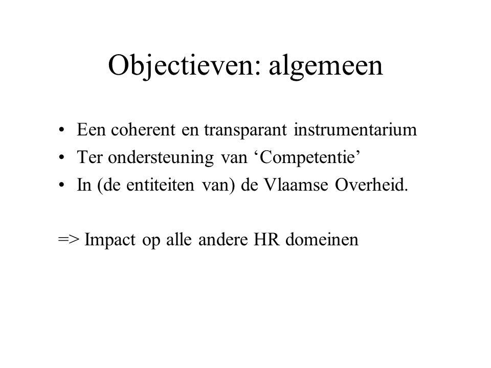 Objectieven: algemeen Een coherent en transparant instrumentarium Ter ondersteuning van 'Competentie' In (de entiteiten van) de Vlaamse Overheid. => I