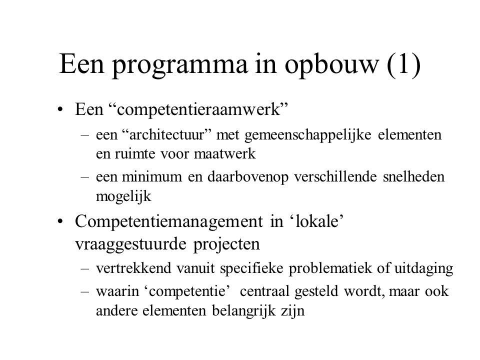 """Een programma in opbouw (1) Een """"competentieraamwerk"""" –een """"architectuur"""" met gemeenschappelijke elementen en ruimte voor maatwerk –een minimum en daa"""