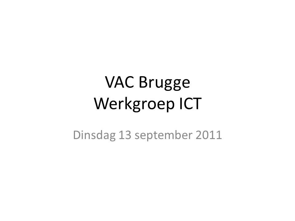 WG ICT VAC Brugge 13/09/2011 Telefonie – Algemeen systeem : Aanvraag naar Mobistar voor offerte in juni, voor 2 PRA + passende nummers aansluiting op Belgacom PRA aangezien Mobistar eind augustus aangaf over geen geschikte nummers te beschikken Weerhouden nummers : – 050/247000 – 7999 – 050/248000 - 8999