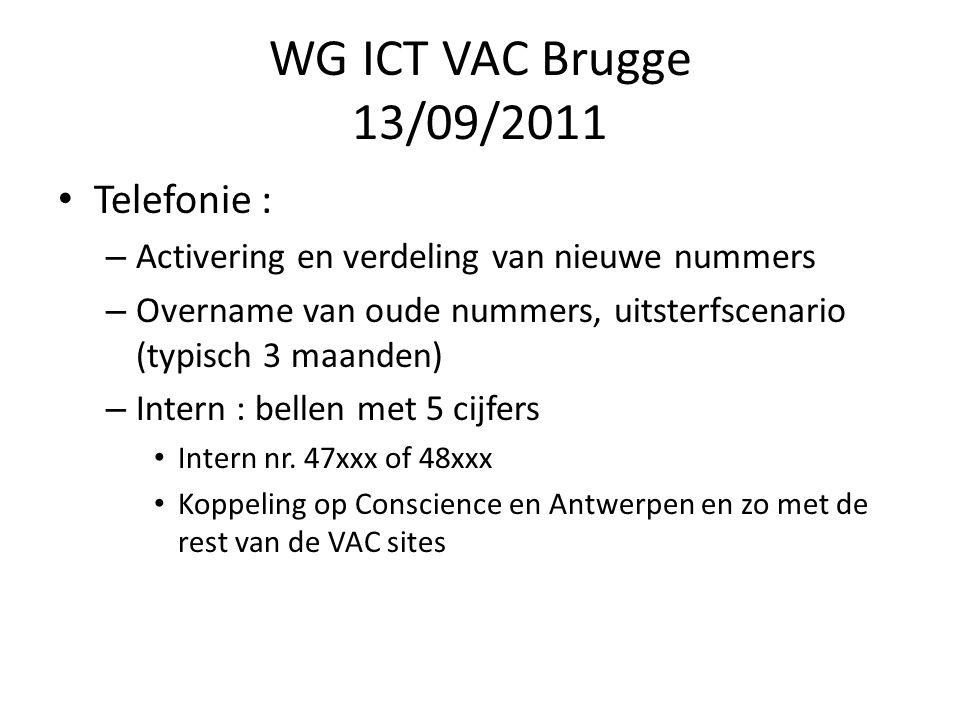 WG ICT VAC Brugge 13/09/2011 Aansluiting op netwerken : – Voor Belgacom klanten : aub een circuit activatie bestellen zodat Belgacom zijn infrastructuur afwerkt – er is fiber intro aanwezig op de site Ref.