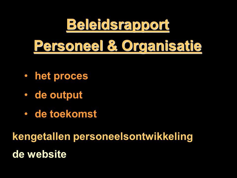 Beleidsrapport Personeel & Organisatie het proces de output de toekomst kengetallen personeelsontwikkeling de website
