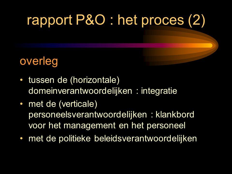 rapport P&O : het proces (2) overleg tussen de (horizontale) domeinverantwoordelijken : integratie met de (verticale) personeelsverantwoordelijken : k