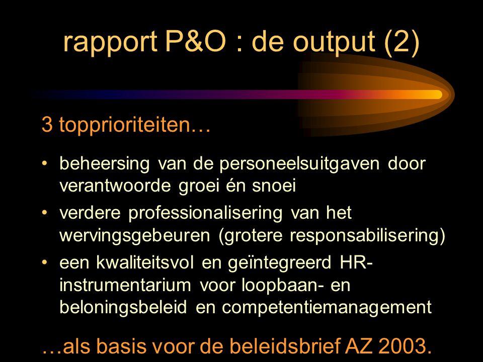 rapport P&O : de output (2) 3 topprioriteiten… beheersing van de personeelsuitgaven door verantwoorde groei én snoei verdere professionalisering van h