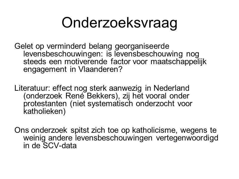 Onderzoeksvraag Gelet op verminderd belang georganiseerde levensbeschouwingen: is levensbeschouwing nog steeds een motiverende factor voor maatschappelijk engagement in Vlaanderen.