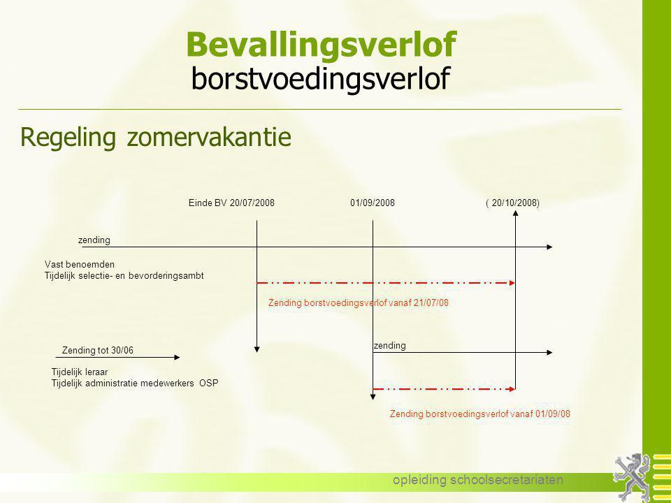 opleiding schoolsecretariaten Bevallingsverlof borstvoedingsverlof Regeling zomervakantie Einde BV 20/07/2008 01/09/2008 ( 20/10/2008) Vast benoemden