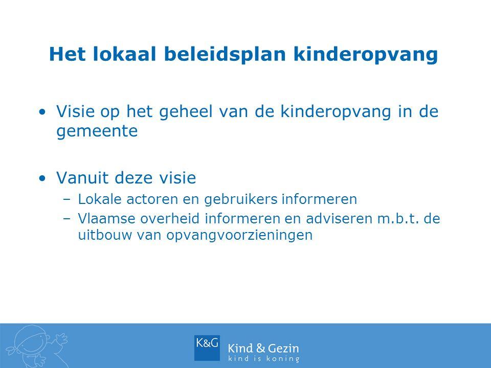 Het lokaal beleidsplan kinderopvang Visie op het geheel van de kinderopvang in de gemeente Vanuit deze visie –Lokale actoren en gebruikers informeren –Vlaamse overheid informeren en adviseren m.b.t.
