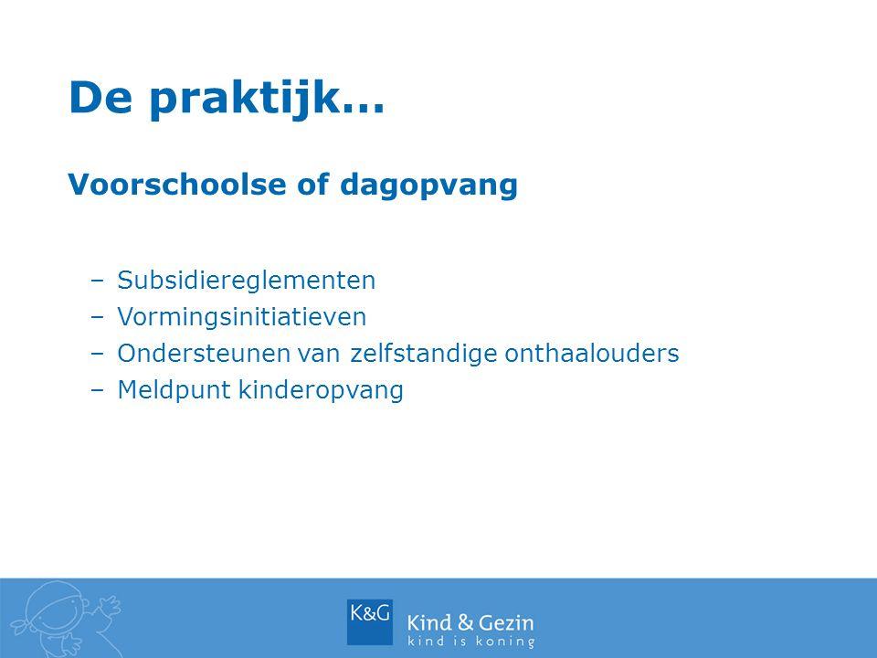 De praktijk… Voorschoolse of dagopvang –Subsidiereglementen –Vormingsinitiatieven –Ondersteunen van zelfstandige onthaalouders –Meldpunt kinderopvang