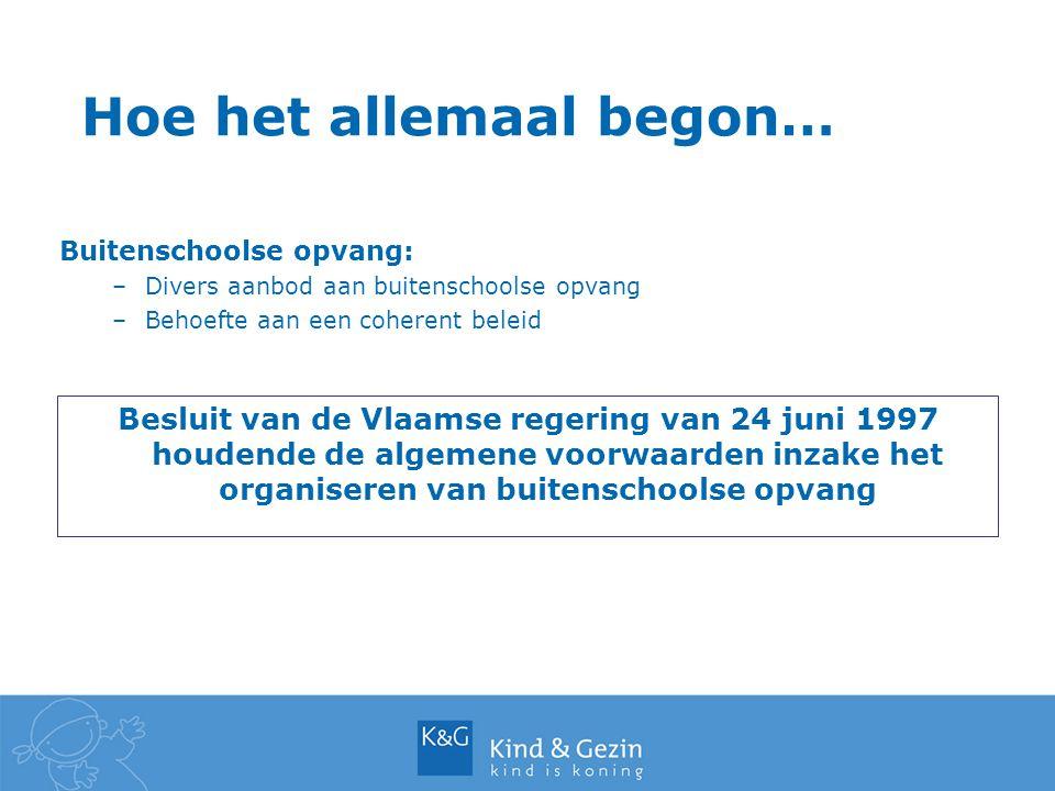 Hoe het allemaal begon… Besluit van de Vlaamse regering van 24 juni 1997 houdende de algemene voorwaarden inzake het organiseren van buitenschoolse opvang Buitenschoolse opvang: –Divers aanbod aan buitenschoolse opvang –Behoefte aan een coherent beleid