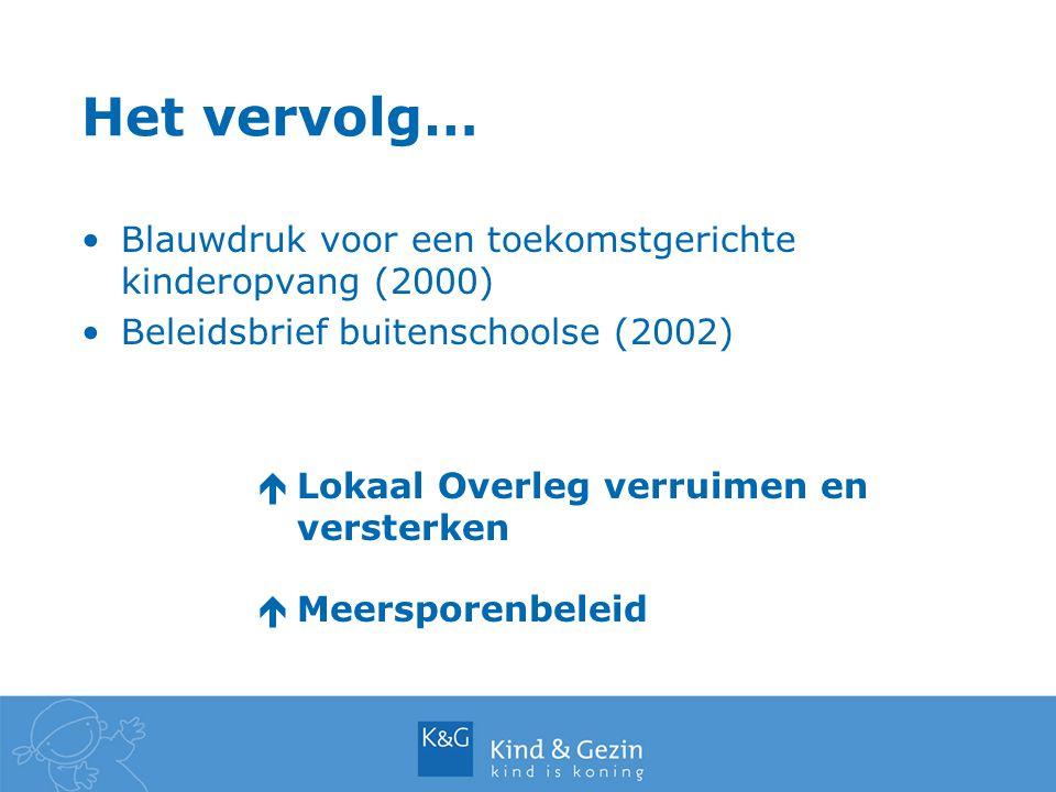 Het vervolg… Blauwdruk voor een toekomstgerichte kinderopvang (2000) Beleidsbrief buitenschoolse (2002) éLokaal Overleg verruimen en versterken éMeersporenbeleid