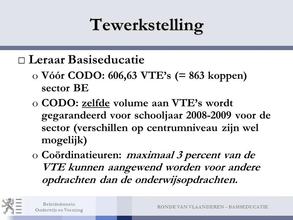 RONDE VAN VLAANDEREN – BASISEDUCATIE Beleidsdomein Onderwijs en Vorming Tewerkstelling □Leraar Basiseducatie oVóór CODO: 606,63 VTE's (= 863 koppen) s