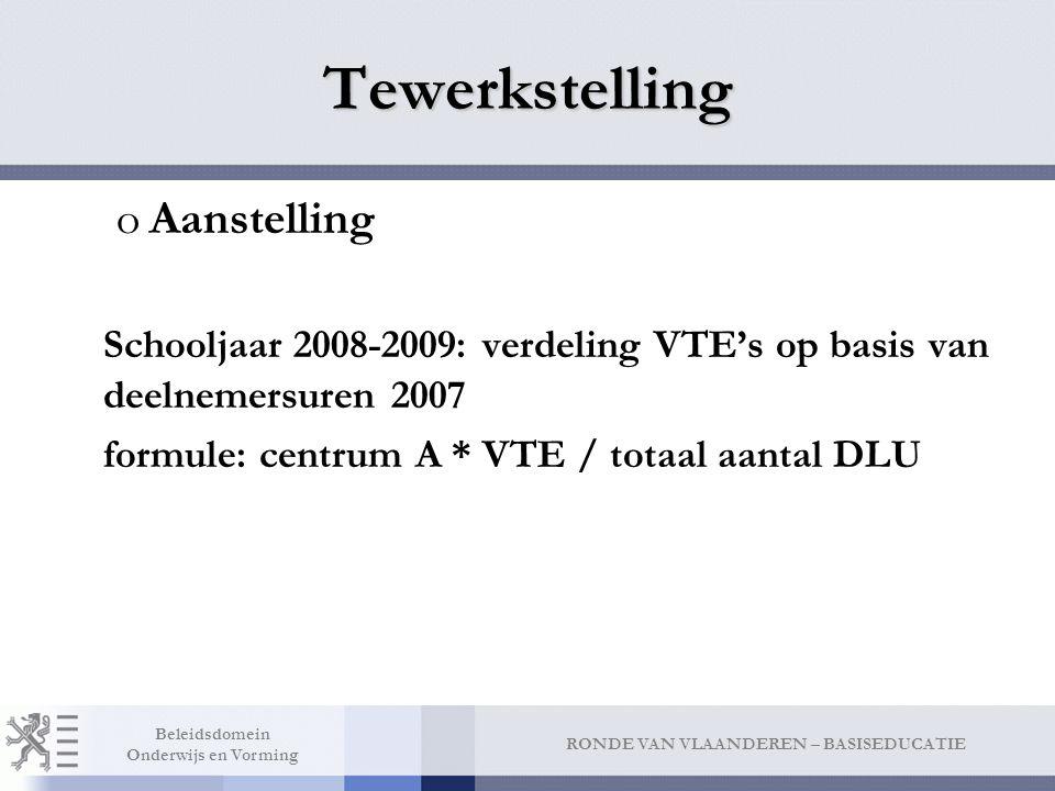 RONDE VAN VLAANDEREN – BASISEDUCATIE Beleidsdomein Onderwijs en Vorming oAanstelling Schooljaar 2008-2009: verdeling VTE's op basis van deelnemersuren