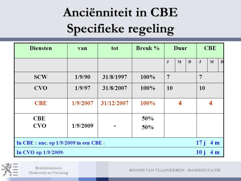 RONDE VAN VLAANDEREN – BASISEDUCATIE Beleidsdomein Onderwijs en Vorming Anciënniteit in CBE Specifieke regeling DienstenvantotBreuk %DuurCBE JMDJMD SCW1/9/9031/8/1997100%77 CVO1/9/9731/8/2007100%10 CBE1/9/200731/12/2007100% 4 4 CBE CVO1/9/2009 - 50% In CBE : anc.