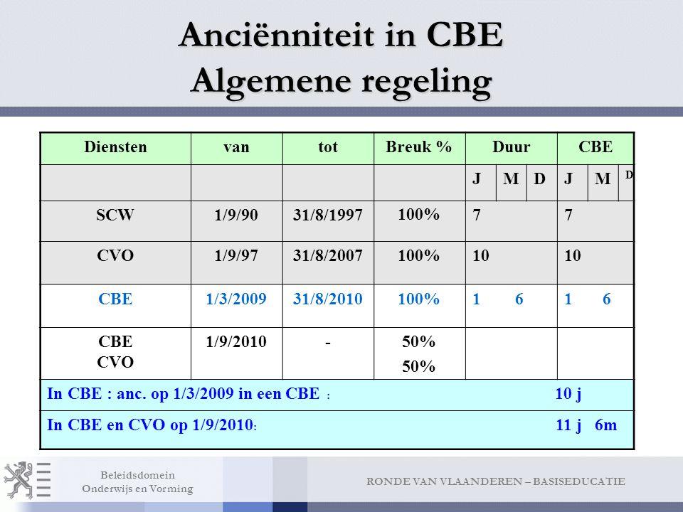 RONDE VAN VLAANDEREN – BASISEDUCATIE Beleidsdomein Onderwijs en Vorming Anciënniteit in CBE Algemene regeling DienstenvantotBreuk %DuurCBE JMDJM D SCW1/9/9031/8/1997100%77 CVO1/9/9731/8/2007100%10 CBE1/3/200931/8/2010100%1 6 CBE CVO 1/9/2010-50% In CBE : anc.