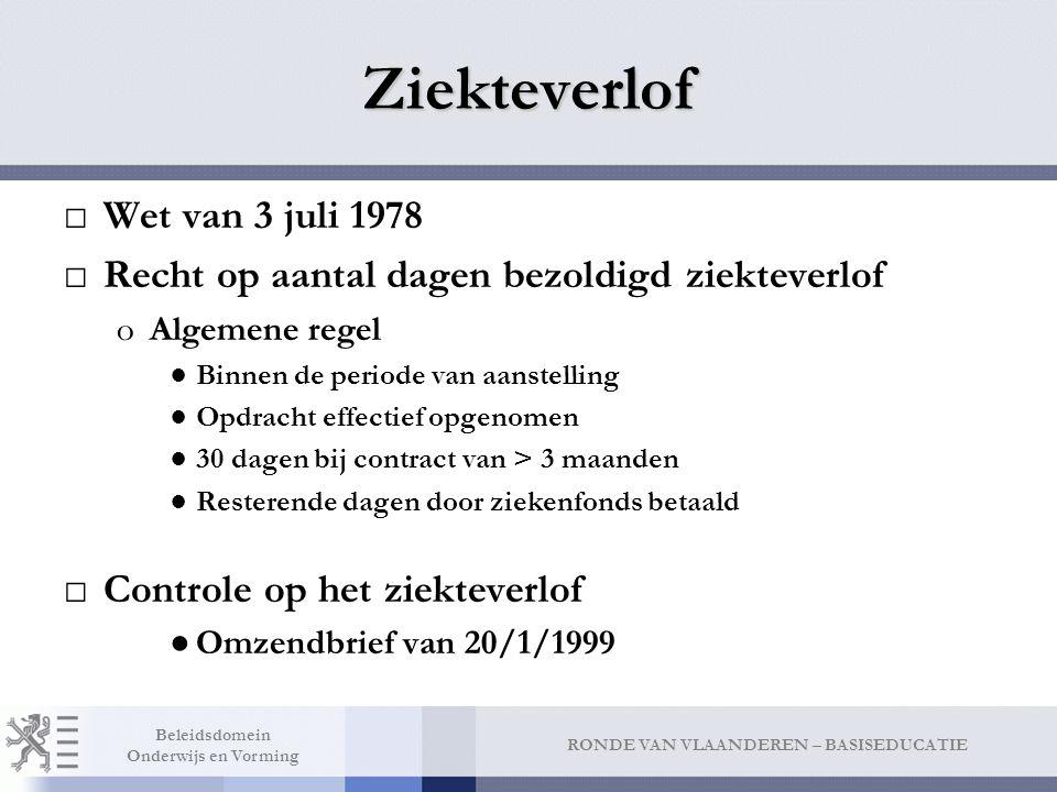 RONDE VAN VLAANDEREN – BASISEDUCATIE Beleidsdomein Onderwijs en Vorming Ziekteverlof □Wet van 3 juli 1978 □Recht op aantal dagen bezoldigd ziekteverlo