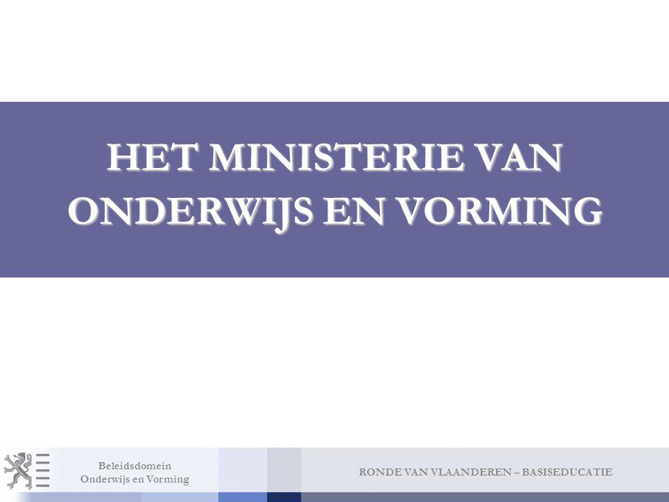 RONDE VAN VLAANDEREN – BASISEDUCATIE Beleidsdomein Onderwijs en Vorming HET MINISTERIE VAN ONDERWIJS EN VORMING