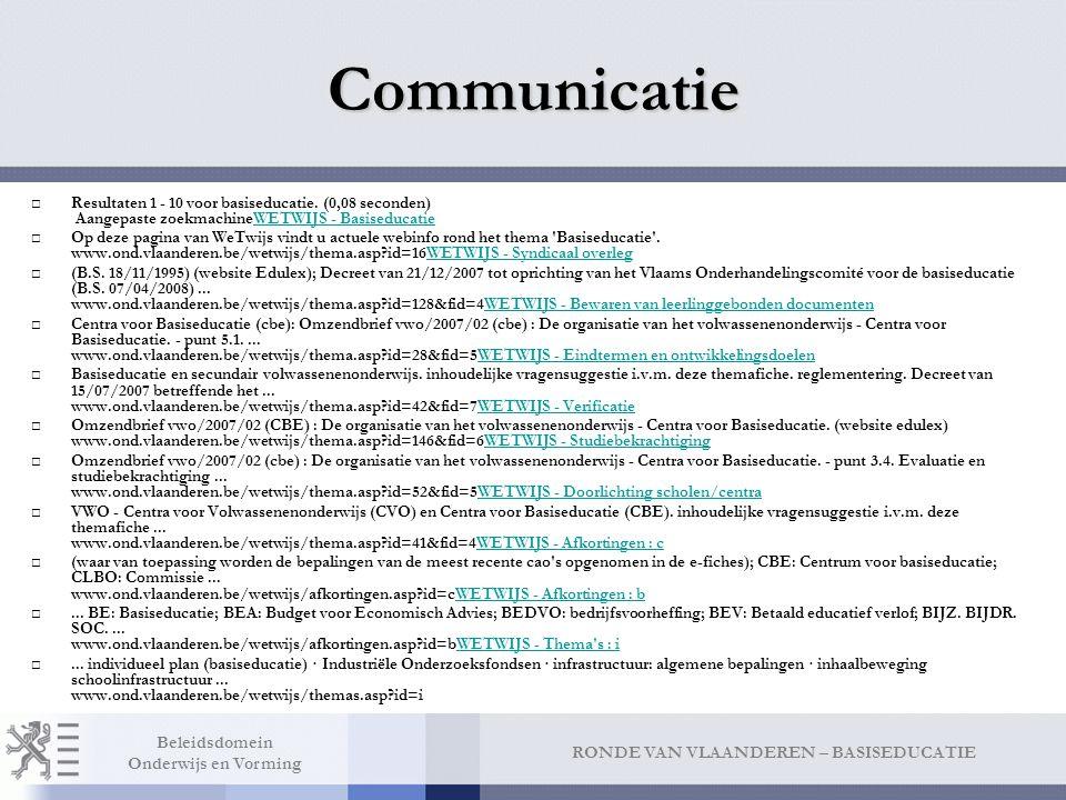 RONDE VAN VLAANDEREN – BASISEDUCATIE Beleidsdomein Onderwijs en Vorming Communicatie □Resultaten 1 - 10 voor basiseducatie.