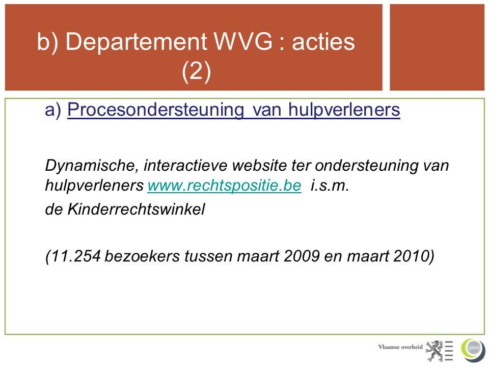 b) Departement WVG : acties (2) a) Procesondersteuning van hulpverleners Dynamische, interactieve website ter ondersteuning van hulpverleners www.rechtspositie.be i.s.m.www.rechtspositie.be de Kinderrechtswinkel (11.254 bezoekers tussen maart 2009 en maart 2010)