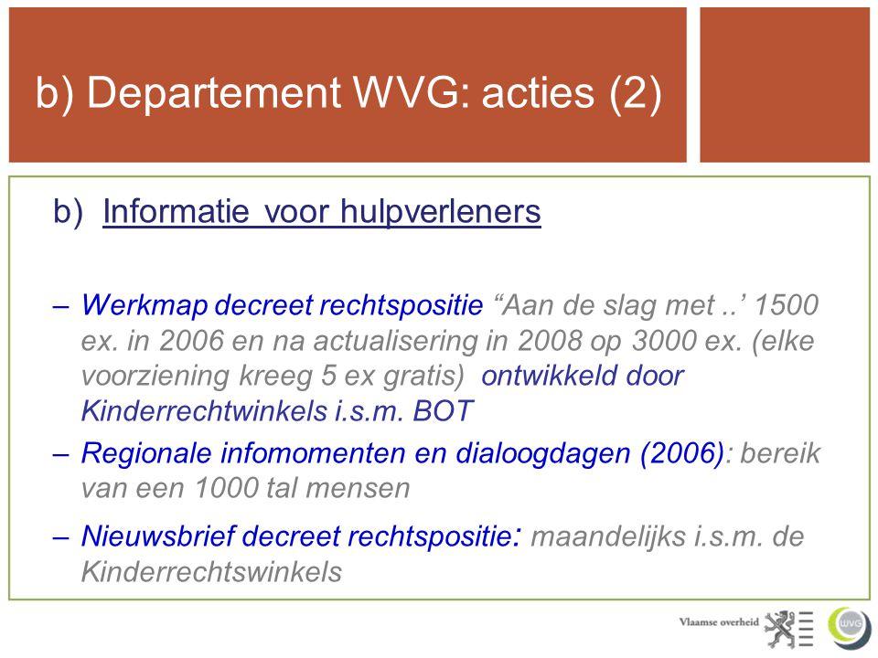 b) Departement WVG: acties (2) b)Informatie voor hulpverleners –Werkmap decreet rechtspositie Aan de slag met..' 1500 ex.