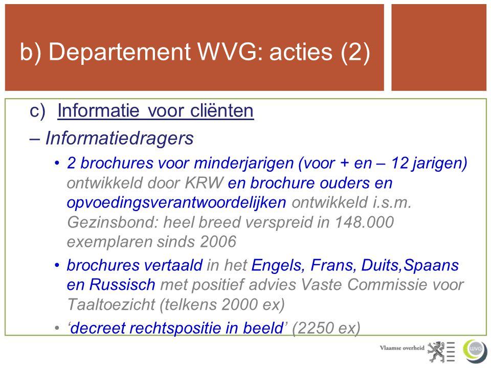 b) Departement WVG: acties (2) c)Informatie voor cliënten –Informatiedragers 2 brochures voor minderjarigen (voor + en – 12 jarigen) ontwikkeld door KRW en brochure ouders en opvoedingsverantwoordelijken ontwikkeld i.s.m.