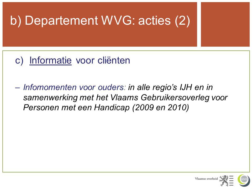 b) Departement WVG: acties (2) c)Informatie voor cliënten –Infomomenten voor ouders: in alle regio's IJH en in samenwerking met het Vlaams Gebruikersoverleg voor Personen met een Handicap (2009 en 2010)