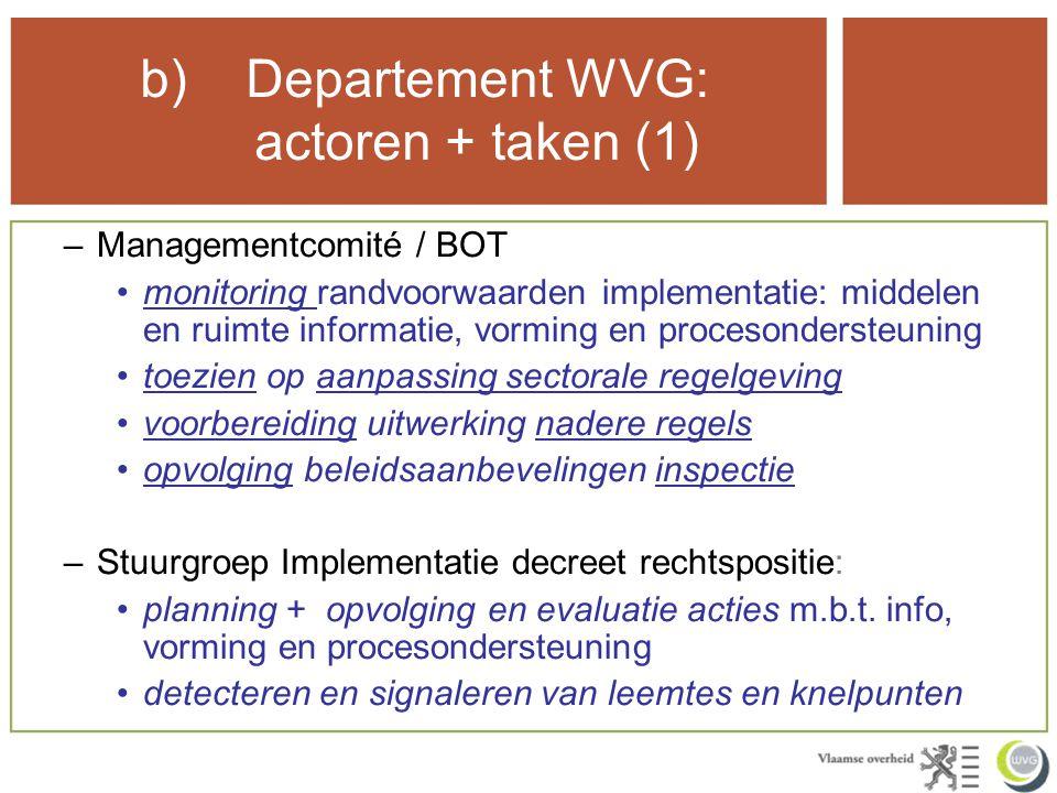b) Departement WVG: actoren + taken (1) –Managementcomité / BOT monitoring randvoorwaarden implementatie: middelen en ruimte informatie, vorming en procesondersteuning toezien op aanpassing sectorale regelgeving voorbereiding uitwerking nadere regels opvolging beleidsaanbevelingen inspectie –Stuurgroep Implementatie decreet rechtspositie: planning + opvolging en evaluatie acties m.b.t.