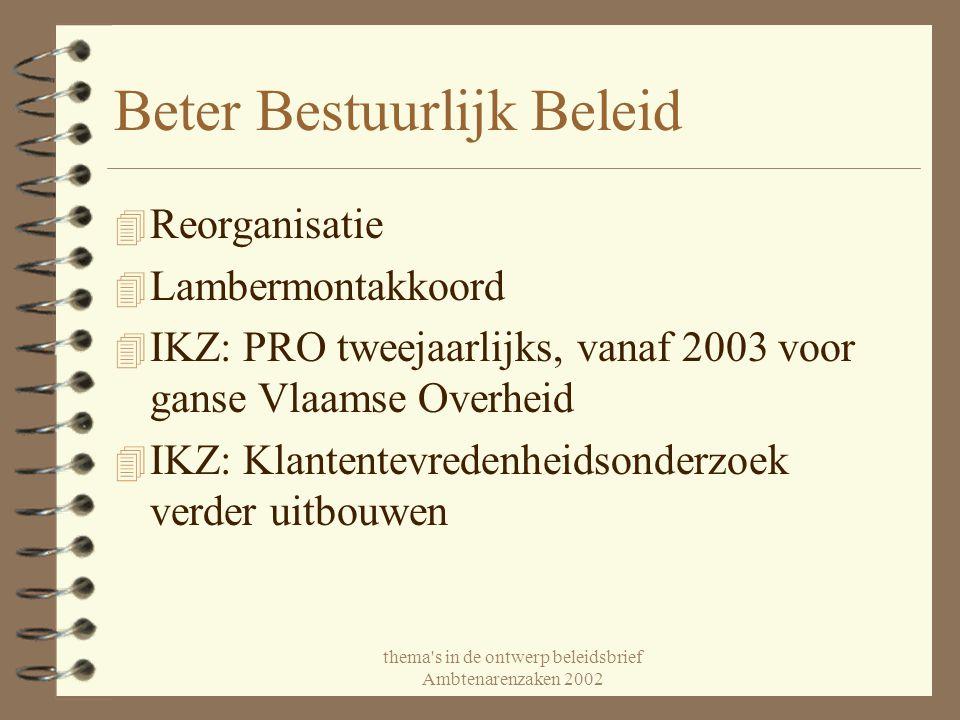 thema's in de ontwerp beleidsbrief Ambtenarenzaken 2002 Beter Bestuurlijk Beleid 4 Reorganisatie 4 Lambermontakkoord 4 IKZ: PRO tweejaarlijks, vanaf 2