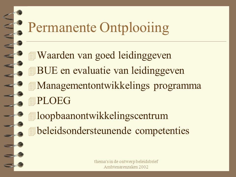 thema's in de ontwerp beleidsbrief Ambtenarenzaken 2002 Permanente Ontplooiing 4 Waarden van goed leidinggeven 4 BUE en evaluatie van leidinggeven 4 M