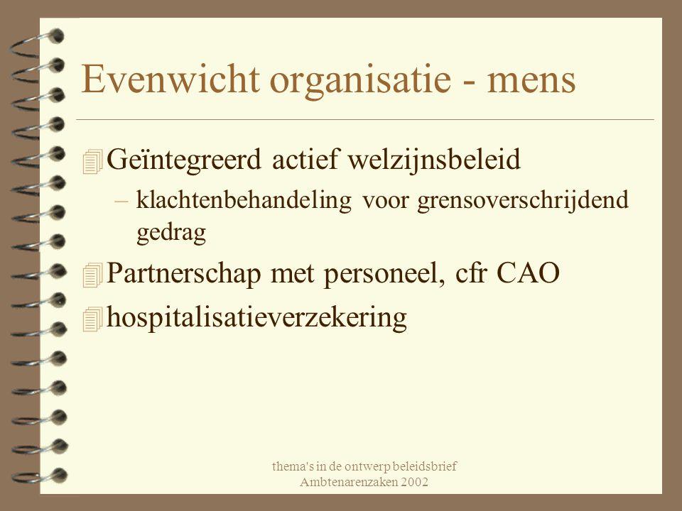 thema's in de ontwerp beleidsbrief Ambtenarenzaken 2002 Evenwicht organisatie - mens 4 Geïntegreerd actief welzijnsbeleid –klachtenbehandeling voor gr