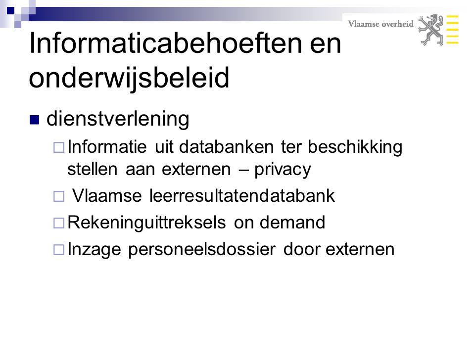 dienstverlening  Informatie uit databanken ter beschikking stellen aan externen – privacy  Vlaamse leerresultatendatabank  Rekeninguittreksels on d
