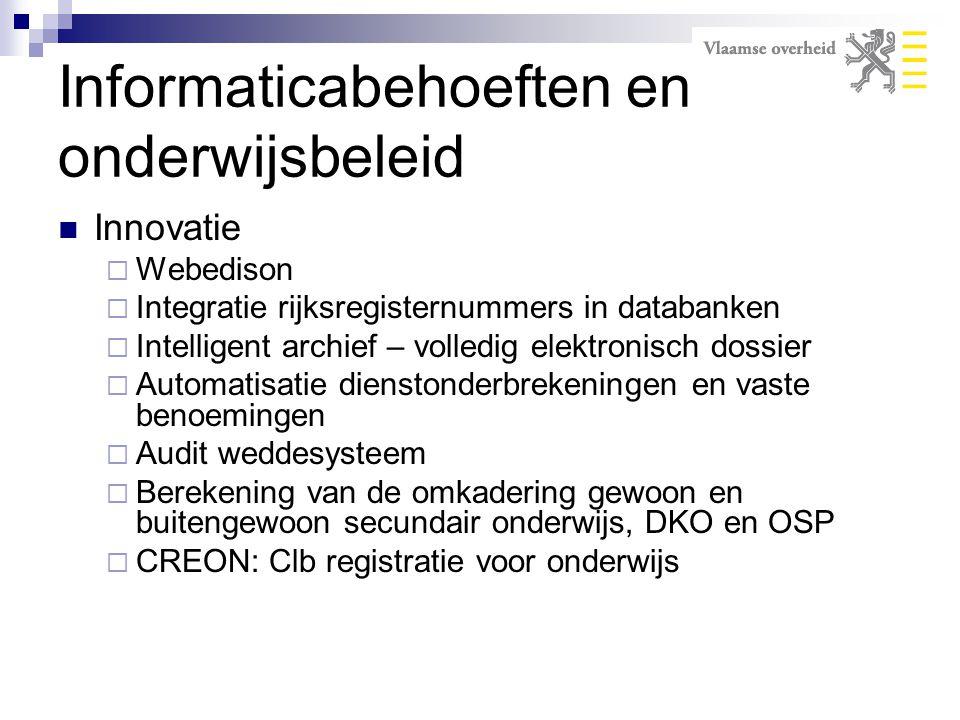 Innovatie  Webedison  Integratie rijksregisternummers in databanken  Intelligent archief – volledig elektronisch dossier  Automatisatie dienstonde