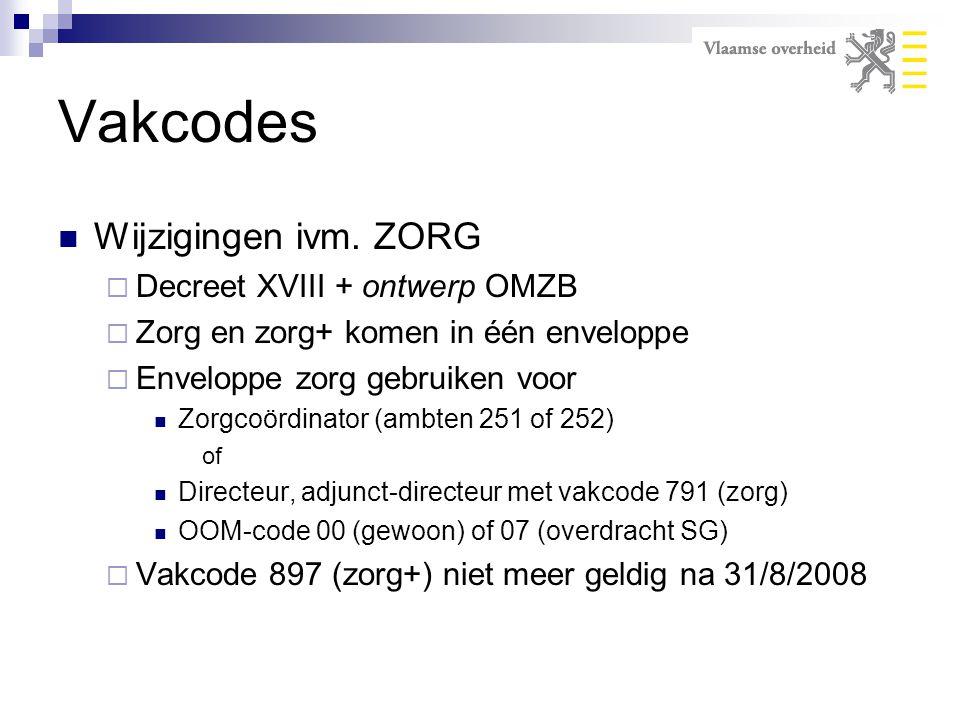 Vakcodes Wijzigingen ivm. ZORG  Decreet XVIII + ontwerp OMZB  Zorg en zorg+ komen in één enveloppe  Enveloppe zorg gebruiken voor Zorgcoördinator (