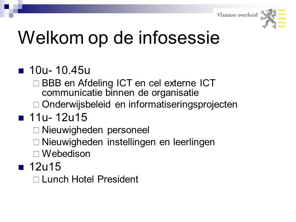 Welkom op de infosessie 10u- 10.45u  BBB en Afdeling ICT en cel externe ICT communicatie binnen de organisatie  Onderwijsbeleid en informatiseringsp