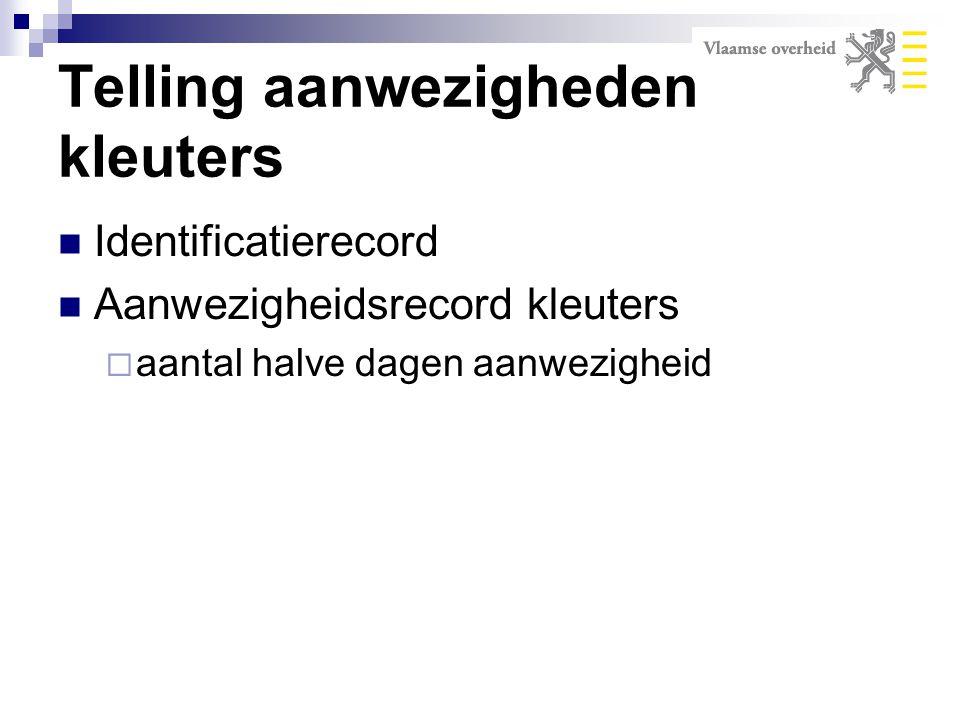 Identificatierecord Aanwezigheidsrecord kleuters  aantal halve dagen aanwezigheid Telling aanwezigheden kleuters