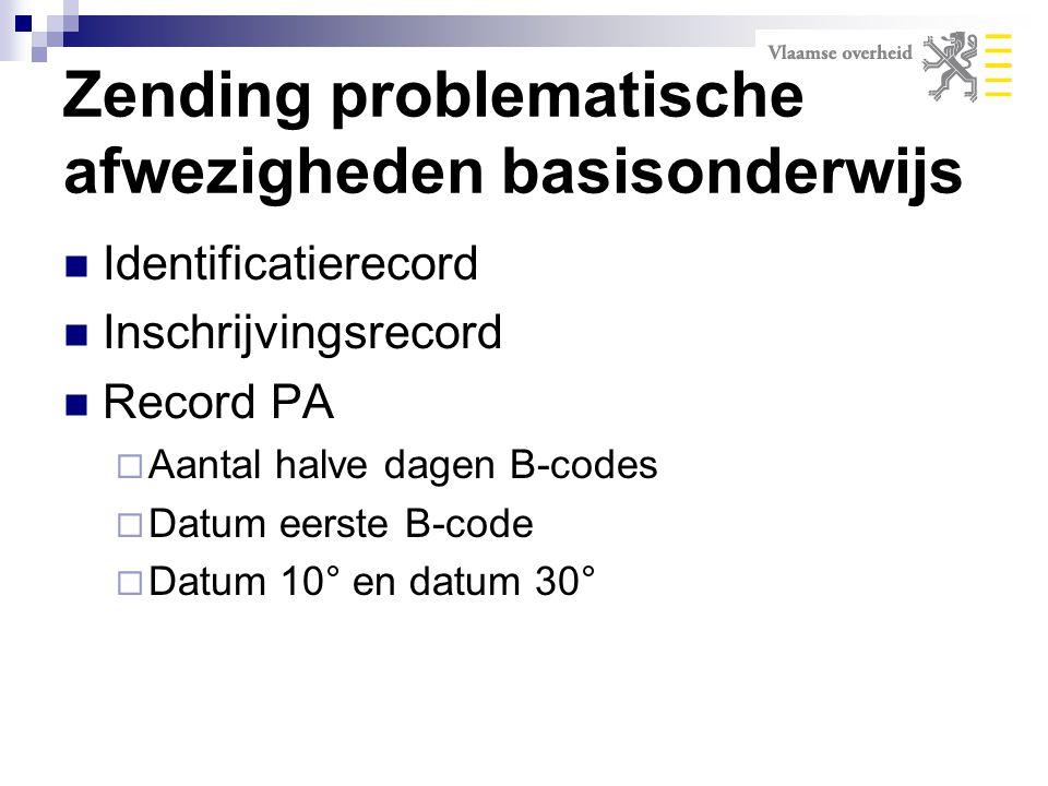 Zending problematische afwezigheden basisonderwijs Identificatierecord Inschrijvingsrecord Record PA  Aantal halve dagen B-codes  Datum eerste B-cod