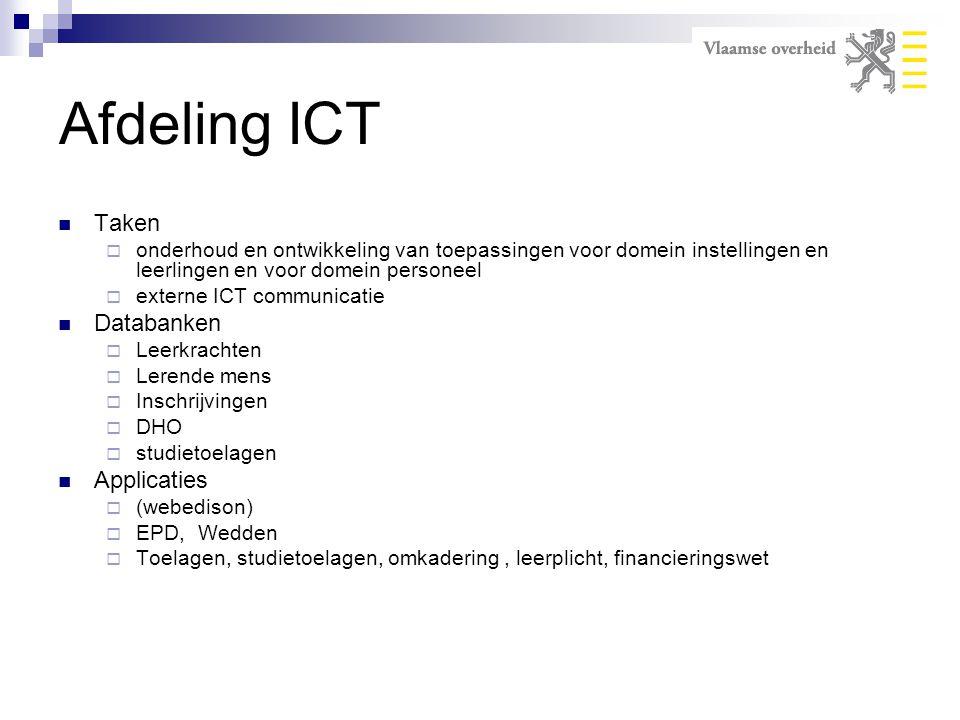 Afdeling ICT Taken  onderhoud en ontwikkeling van toepassingen voor domein instellingen en leerlingen en voor domein personeel  externe ICT communic