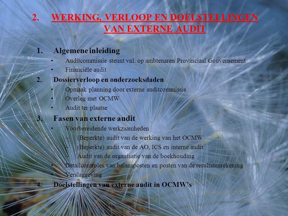 2.WERKING, VERLOOP EN DOELSTELLINGEN VAN EXTERNE AUDIT 1.Algemene inleiding Auditcommissie steunt vnl.